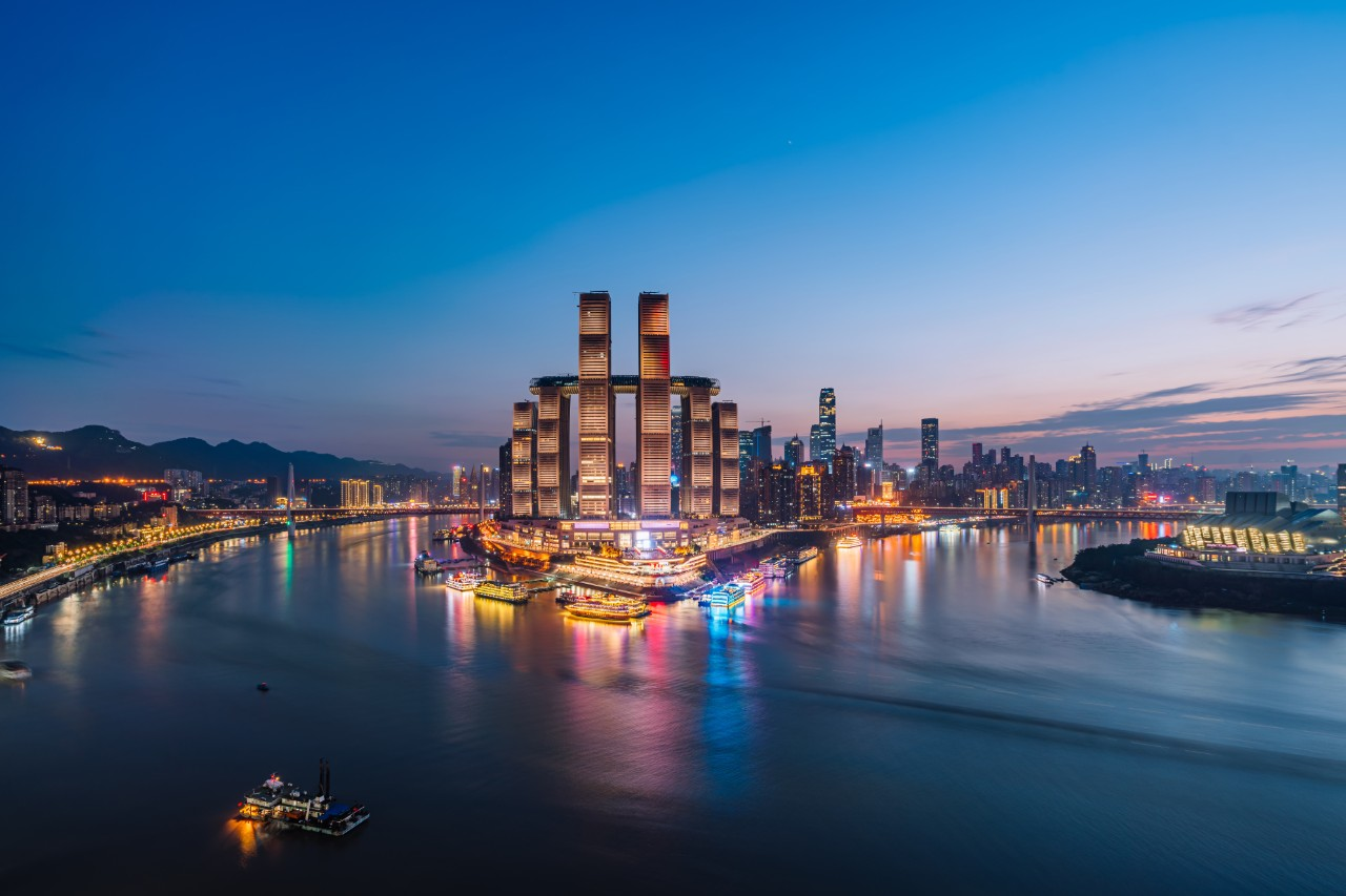High angle night scenery of Chaotianmen Wharf, Chongqing, China